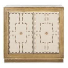Azuli 2 Door Chest - Rustic Oak / Beige Linen