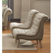 Emerald Home Hutton II Accent Chair Armless Nailhead Natural U3164-15-09