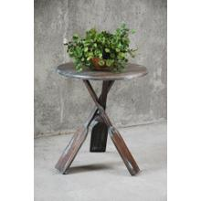 CC-TAB813LD-BBR  Round Cottage Boat Oar Accent Table  Distressed Brown and Blue