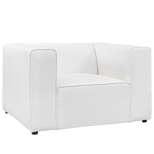Mingle Upholstered Fabric Armchair in White
