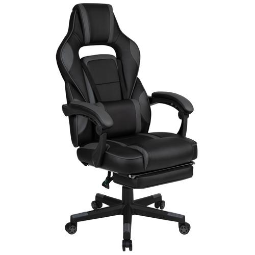 Gallery - X40 Gaming Chair Racing Ergonomic Computer Chair with Fully Reclining Back\/Arms, Slide-Out Footrest, Massaging Lumbar - Black\/Gray