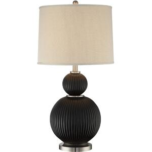 Table Lamp, Dark Walnut Finished/fabric Shade, E27 Cfl 23w