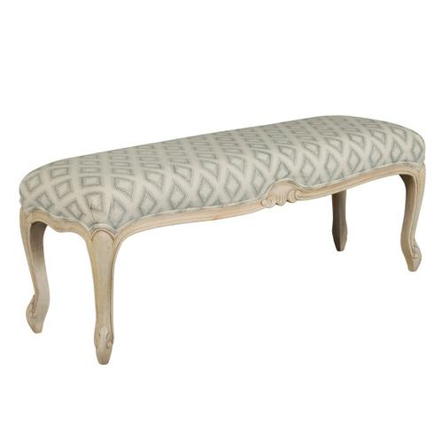 Carved Leg Upholstered Bench in Beige Gray Diamond