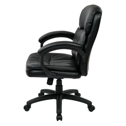 Mid Back Black Bonded Leather Executive Chair With Padded Arms