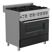 ZLINE 36 in. Professional Dual Fuel Range in DuraSnow® Stainless Steel with Black Matte Door (RAS-BLM-36)