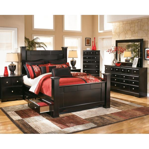 Shay Queen Poster Bed With 2 Storage Drawers