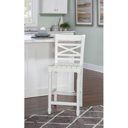 Planked Seat and Small X Motif Back Counter Stool, White