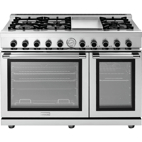 """Superiore - Range NEXT 48"""" Panorama Stainless steel 6 gas, griddle and 2 gas ovens"""