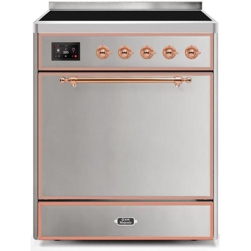 Majestic II 30 Inch Electric Freestanding Range in Stainless Steel with Copper Trim