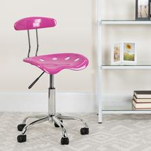 View Product - Vibrant Candy Heart and Chrome Swivel Task Office Chair with Tractor Seat