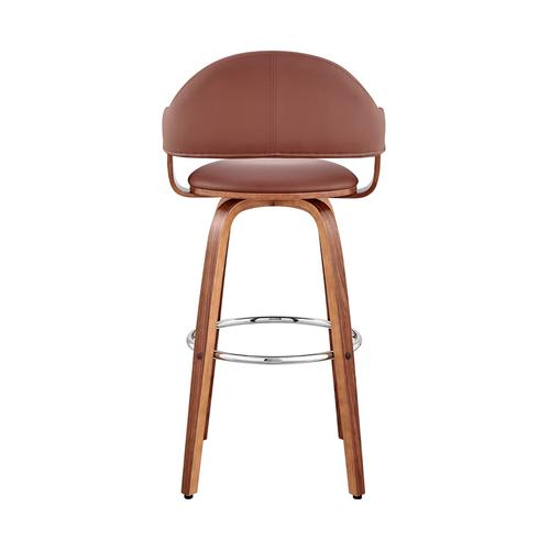 """Armen Living - Daxton 26"""" Brown Faux Leather and Walnut Wood Bar Stool"""