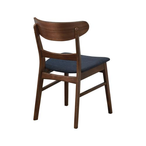 Emerald Home Simplicity Side Chair Wood Back W/uph Blue Seat Walnut D550-20