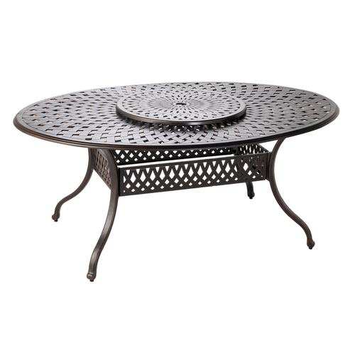 """Westbury Duo 70""""Oval Egg Dining Table with Lazy Susan and Umbrella Hole"""
