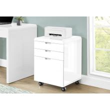 See Details - FILING CABINET - 3 DRAWER / HIGH GLOSSY WHITE / CASTORS