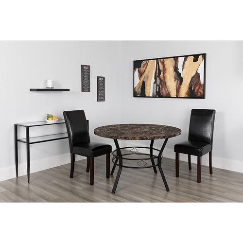 """Tremont 47"""" Round Dining Table in Espresso Marble-Like Finish"""