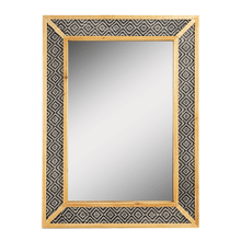 See Details - Black & White Geo Framed Wall Mirror