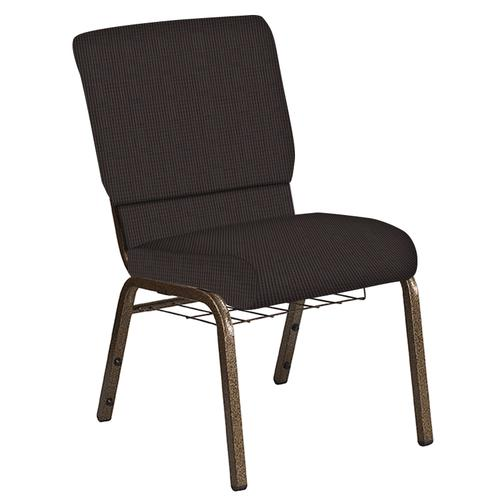 Flash Furniture - 18.5''W Church Chair in Mainframe Mocha Fabric with Book Rack - Gold Vein Frame