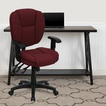 View Product - Mid-Back Burgundy Fabric Multifunction Swivel Ergonomic Task Office Chair with Pillow Top Cushioning and Arms