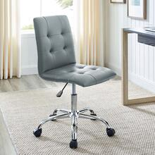 See Details - Ripple Armless Mid Back Vinyl Office Chair in Gray