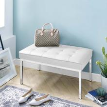 Loft Tufted Medium Upholstered Faux Leather Bench in Silver White
