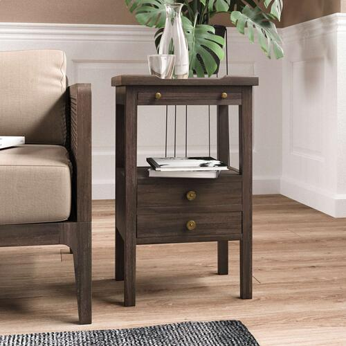 Eton 2 Drawer Side Table w/ Pull Out Shelf - CCA