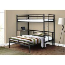 BUNK BED - TWIN / FULL SIZE - TAUPE DESK / BLACK METAL