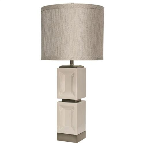 Product Image - Bozeman White Ceramic & Metal Accent Table Lamp with Designer Fabric Match Trim Hardback Shade