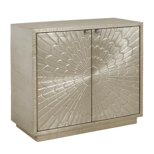 Camellia Floral Carved 2 Door Chest in Moonlight Silver