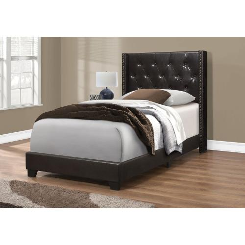 Gallery - BED - TWIN SIZE / BROWN LEATHER-LOOK WITH BRASS TRIM