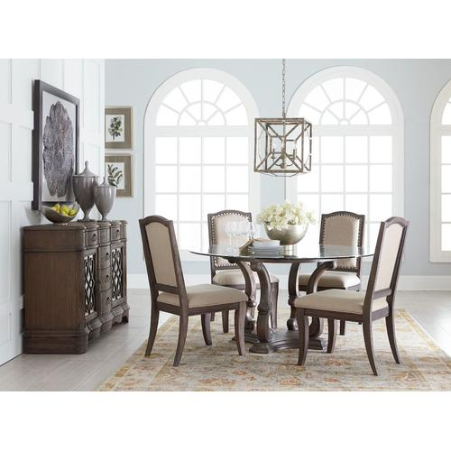 """Gallery - Parliment 60"""" Round Table with Glass Top, Brown"""