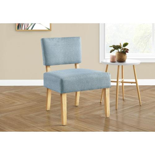 Gallery - ACCENT CHAIR - LIGHT BLUE FABRIC / NATURAL WOOD LEGS