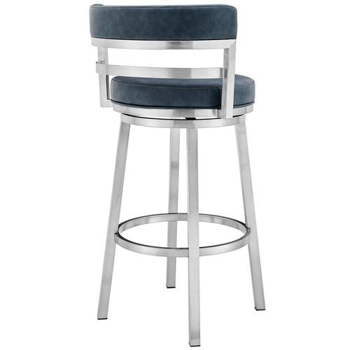"Madrid Contemporary 30"" Counter Height Barstool in Brushed Stainless Steel Finish and Blue Faux Leather"