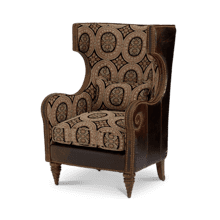 Leather/Fabric Wing Chair - Grp1/Opt1