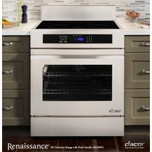 "Renaissance 30"" Freestanding Induction Range, in Stainless Steel and Black Ceramic Glass, with Epicure® Style Handle in Stainless Steel with Chrome Trim, and 6"" Backguard with Full-Depth Side Panels"