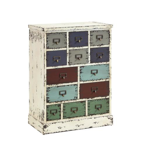 13-drawer Cabinet, Distressed White