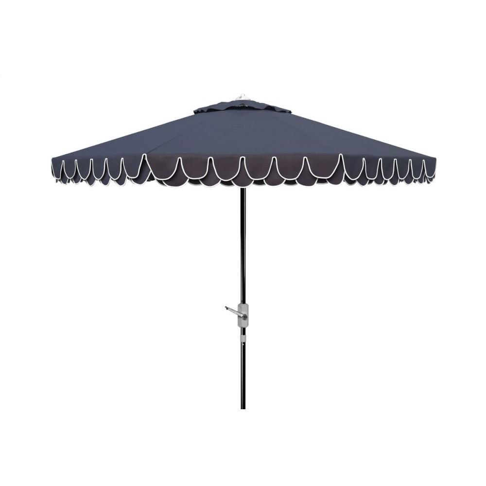 Elegant Valance 9ft Auto Tilt Umbrella - Navy / White
