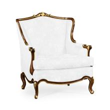 Arm Chair with Gilded Carving, Upholstered in COM by Distributor