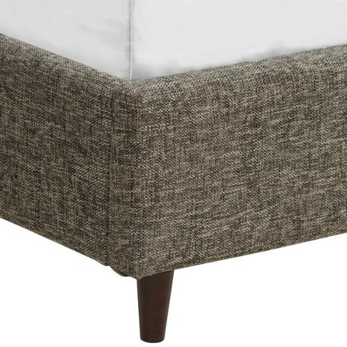 Grey Mid-Century Modern Upholstered Queen Bed Footboard & Rails