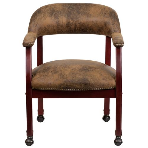 Gallery - Bomber Jacket Brown Luxurious Conference Chair with Accent Nail Trim and Casters