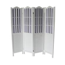 7043 WHITE Shutter Arc 4-Panel Room Divider