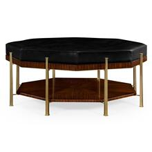 Octagonal coffee table upholstered in black leather