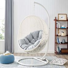 Hide Outdoor Patio Sunbrella® Swing Chair With Stand in White Gray