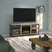 """View Product - Irondale TV Stand for TVs up to 65"""" with Electric Fireplace, Autumn Driftwood"""