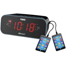 Bluetooth® Dual Alarm Clock Radio with 2 USB Charge Ports