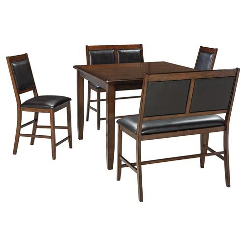 5 Piece Set (Pub Table, 2 Barstools and 2 Pub Benches)