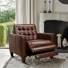 See Details - Wesley Chestnut Genuine Leather Extendable Power Footrest Tuxedo Arm Accent Chair