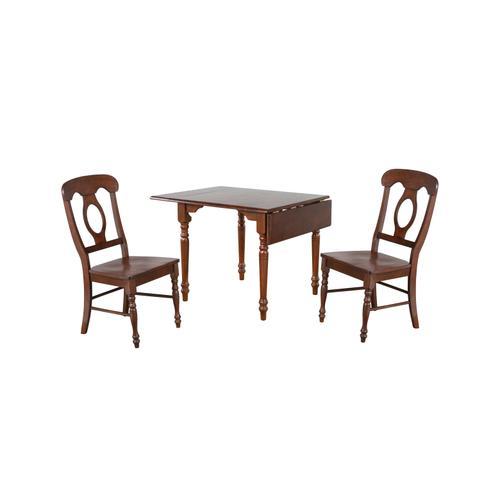 Drop Leaf Dining Set w/Napoleon Chairs - Chestnut (3 Piece)
