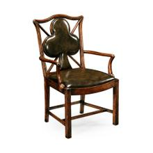 """Playing Card """"Club"""" Armchair with Medium English Library Green Leather"""