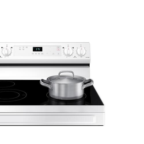 Samsung - 6.3 cu. ft. Smart Freestanding Electric Range with Steam Clean in White