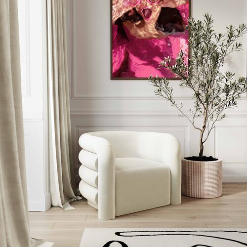 Tov Furniture - Curves Cream Velvet Lounge Chair